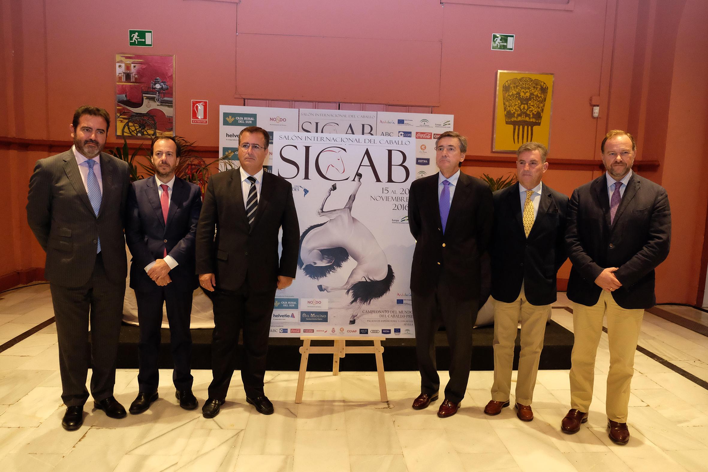 Jesús Rojas (director general de FIBES), Rafael Olveras (director de Producción Agrícola y Ganadera), Juan Carlos Cabrera (Ayuntamiento) - Juan Tirado (presidente de ANCCE) y José Luis García- Palacios (consejero de Caja Rural del Sur)